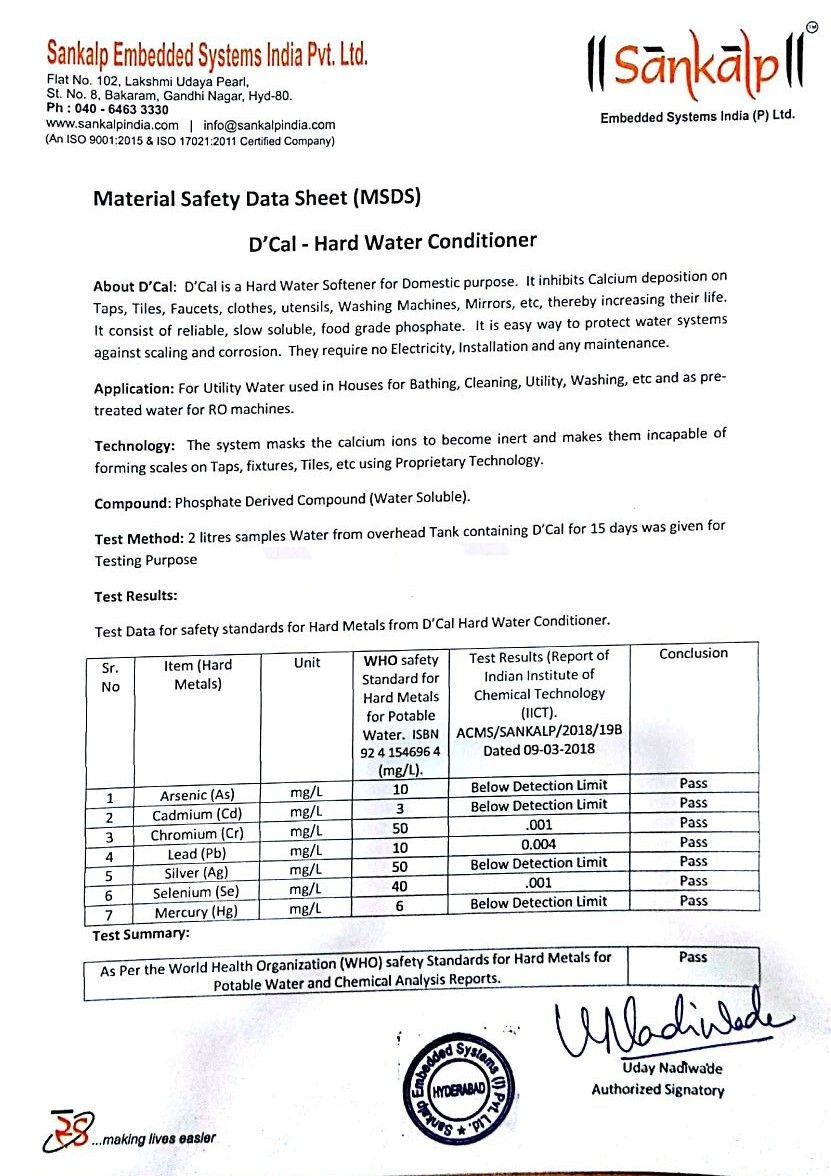 MSDS - Dcal hard water conditioner material safety data sheet