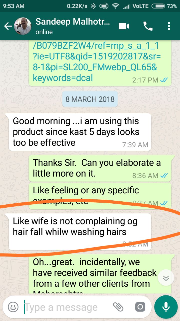 Sandeep Malhotra dcal customer testimonial whatsapp